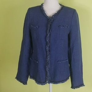 Soft Surroundings Linen Chain Frayed Hem Blazer S